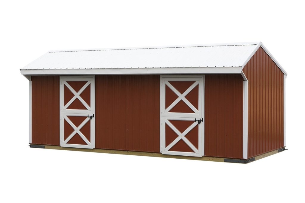 10x24 red metal barn j n structures for Red metal barn