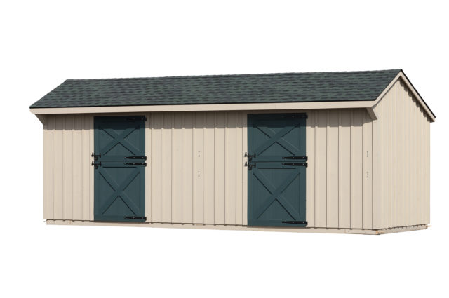 10×24 Shed Row Barn Green Shingle