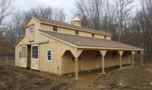 Custom Handmade Amish Lean To Horse Barn