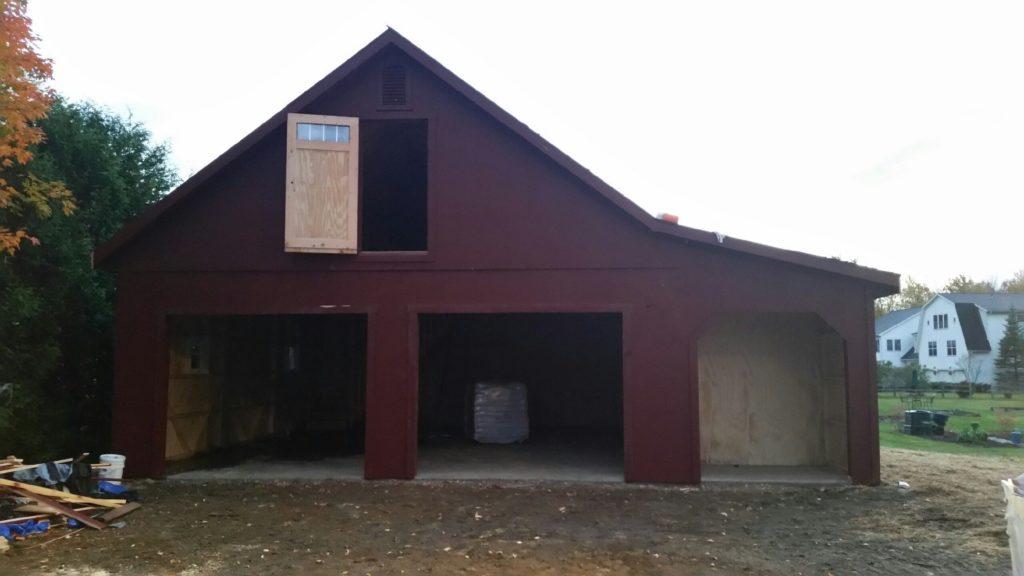 Prefab 2 car garage waterbury vt j n structures for Prefabricated garage with loft