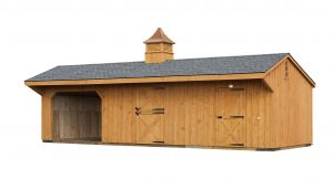 12x34 Run In Shed Row Barn Combo - Natural Stain - Pewter Gary Shingle - B-32 Cupola - Gable Vents