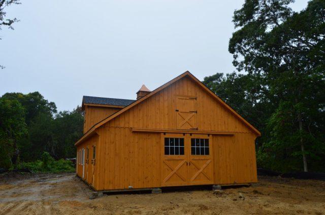 back of modular barn