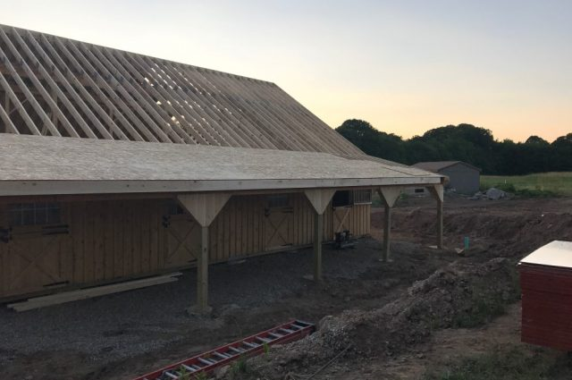 barn roof being built