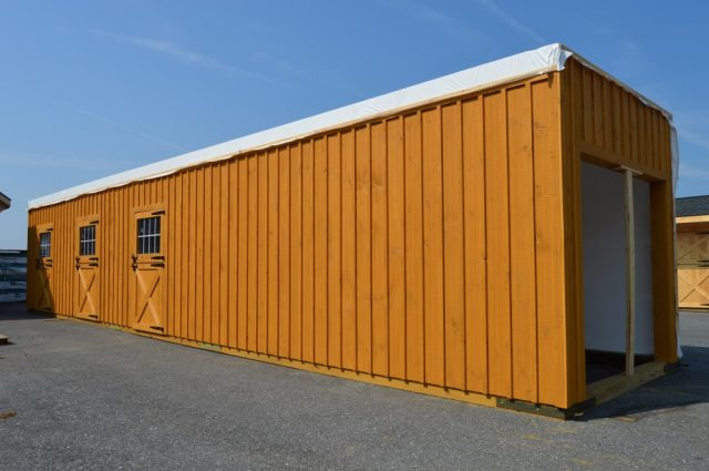 modular barn being built