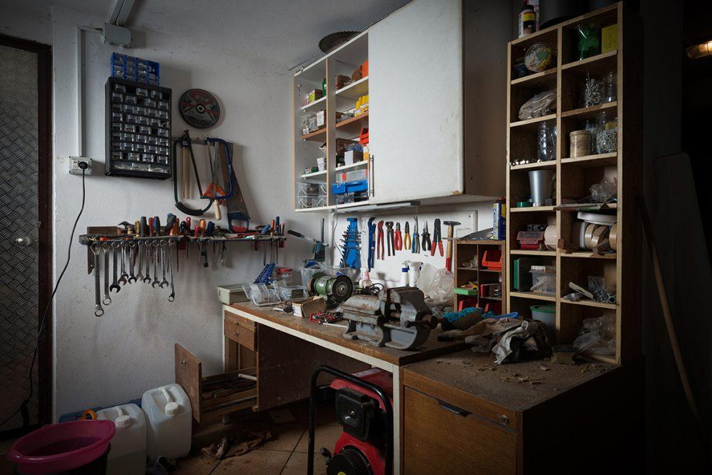Messy Work Bench in Modular Garage