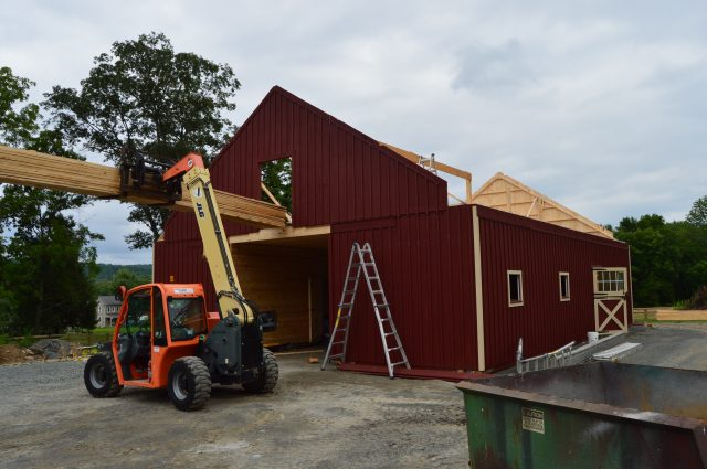 modular barn being constructed
