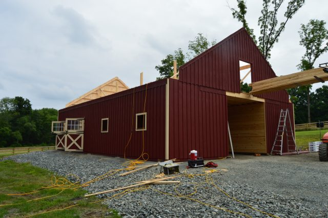 modular barn during construction