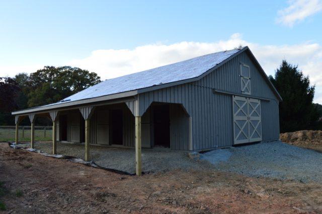 Amish Modular Barn double sliding doors Cochranville, PA