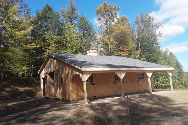 Amish wooden modular horse barn for sale Stowe, VT