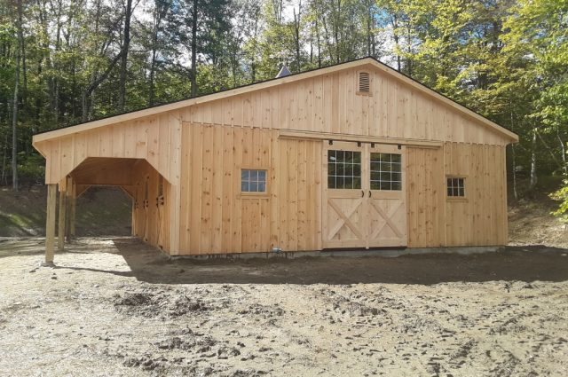 Stowe, Vermont modular barn double sliding doors with windows