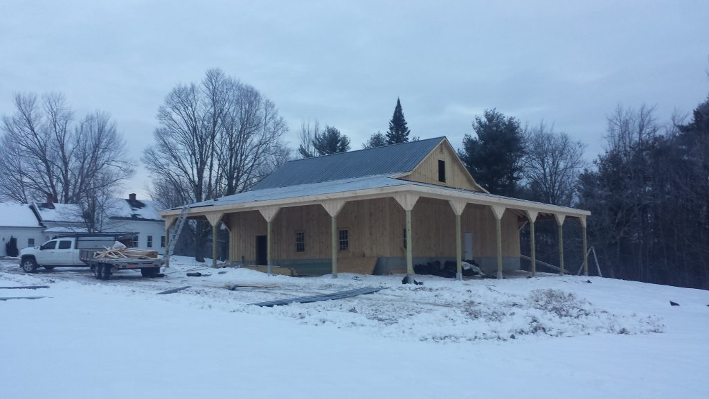 Horse barn design with porch