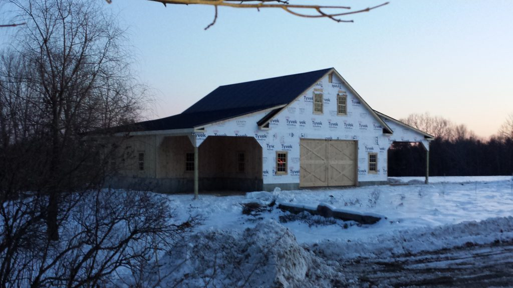 Barn being built in Maine