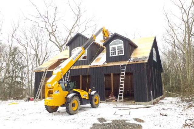40'x50' prefab garage construction in Woodbury, CT