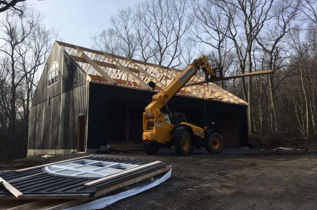 40'x50' prefab garage with 12' high walls in Woodbury, CT