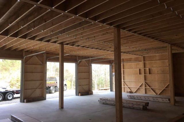 40'x50' prefab garage with loft made of white pine board in Woodbury, CT