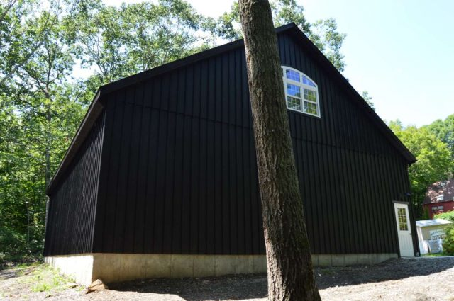 black board and batten custom garage in Woodbury, Connecticut