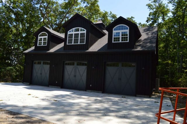 custom three door garage with loft in Woodbury, Connecticut