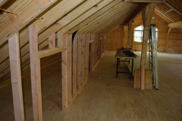 garage with storage loft in Woodbury, CT