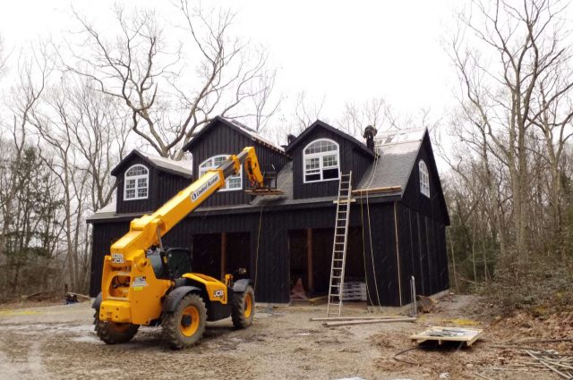 Woodbury, CT garage built with black board and batten siding