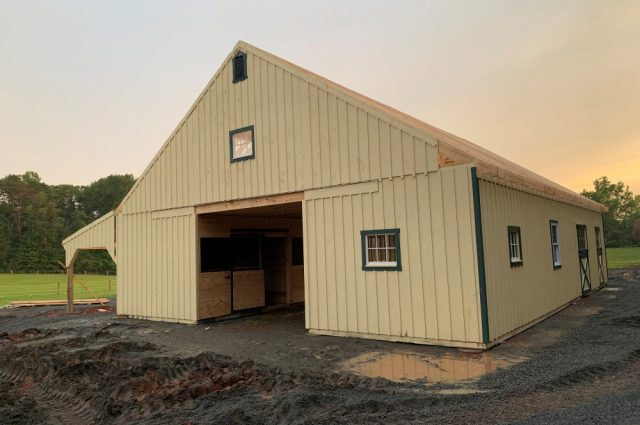 white pine board and batten siding painted Lean-To Barn in Scottsville, VA