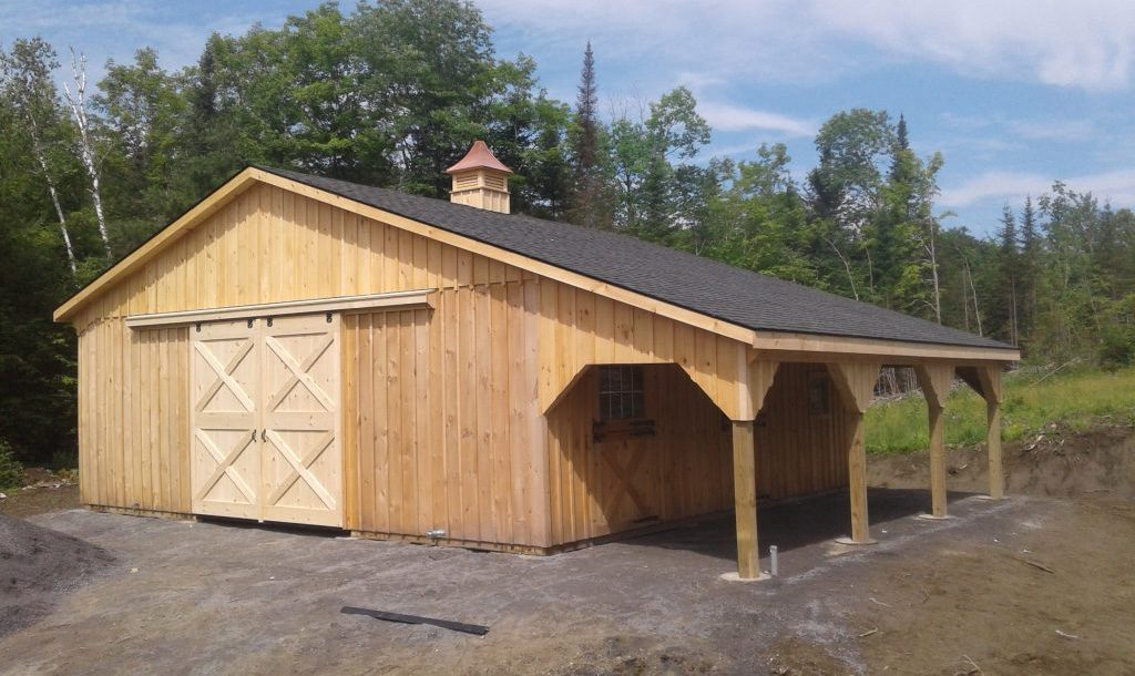 Wood siding horse barn