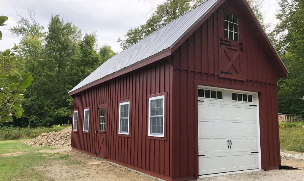 Red and white garage