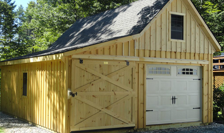 Custom garage with sliding barn door