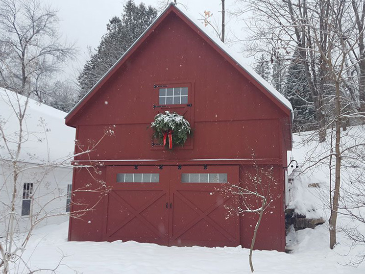 Big red barn custom made with high pitched roof