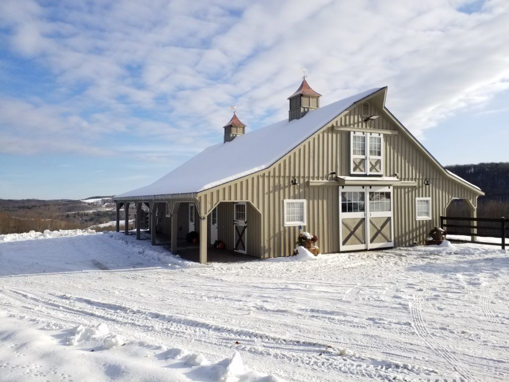 Custom horse barn built to accommodate many horses