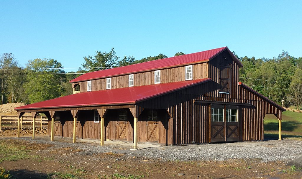 Custom built horse barn for many horses
