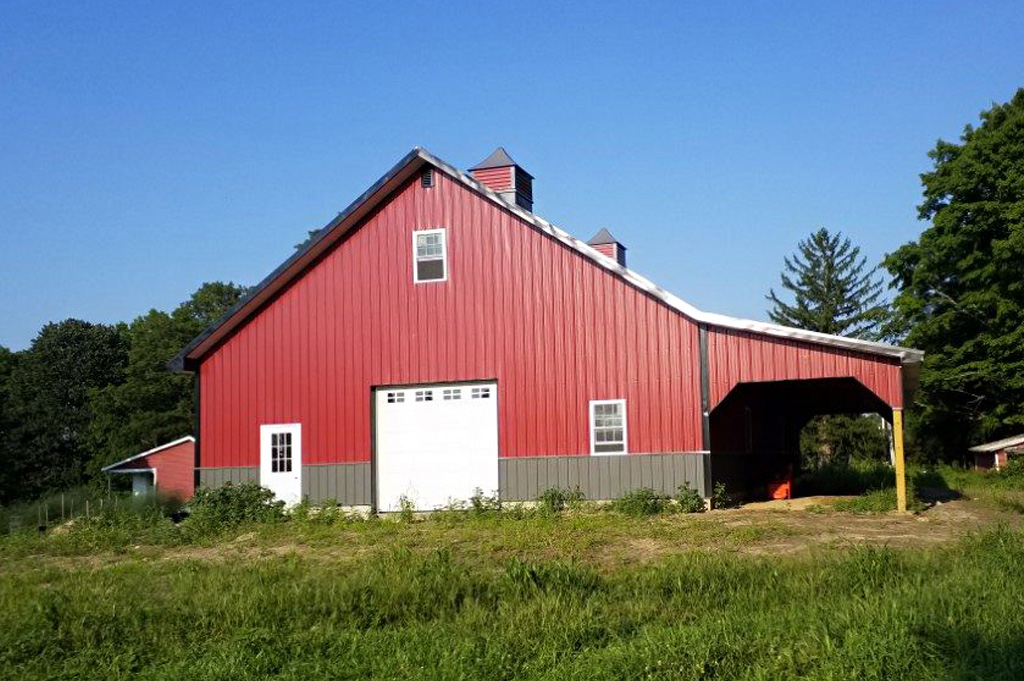 Large red workshop garage in PA