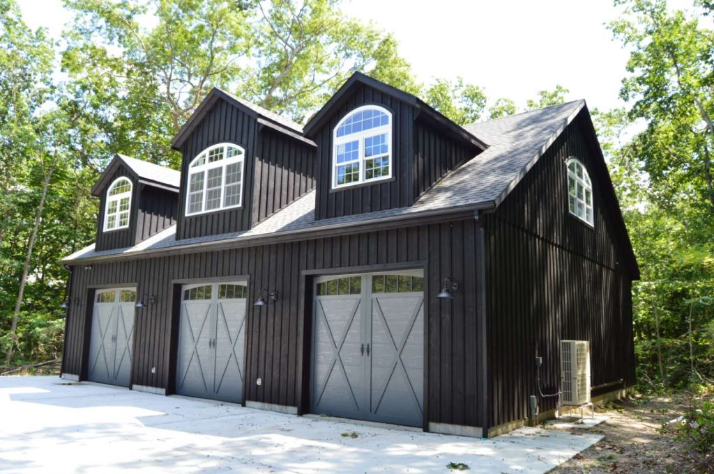 Custom garage building in black
