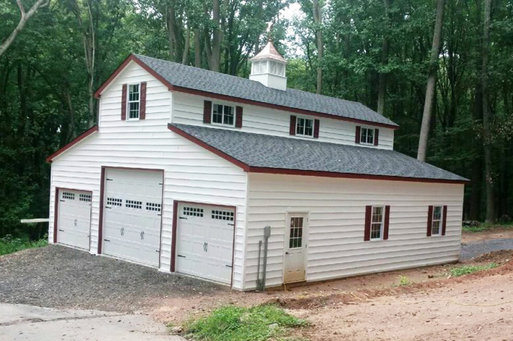 Large garage style with red trim