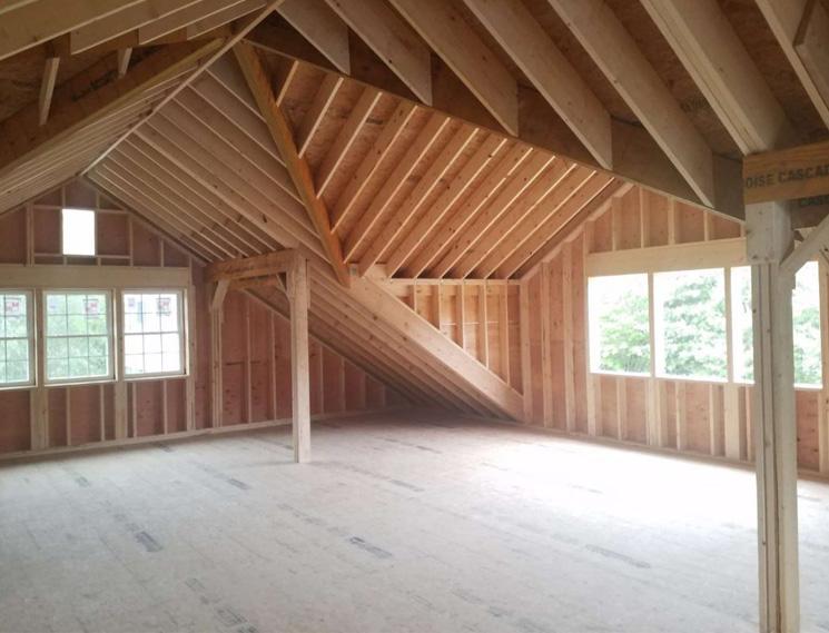 Unfinished barn loft interior