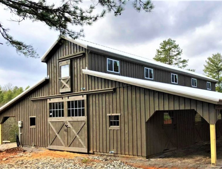 two-story center aisle barn with loft