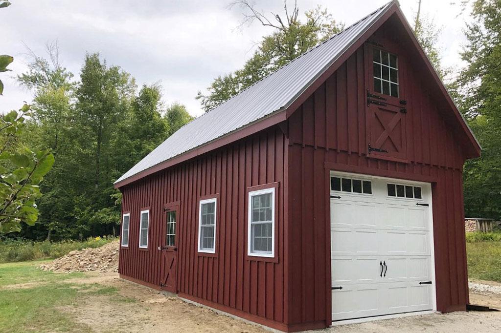 Red and white custom garage