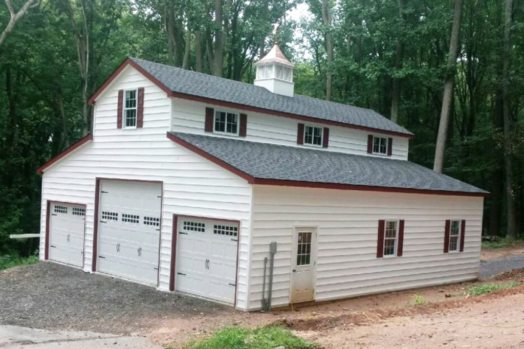 Exterior garage with colors of white and red
