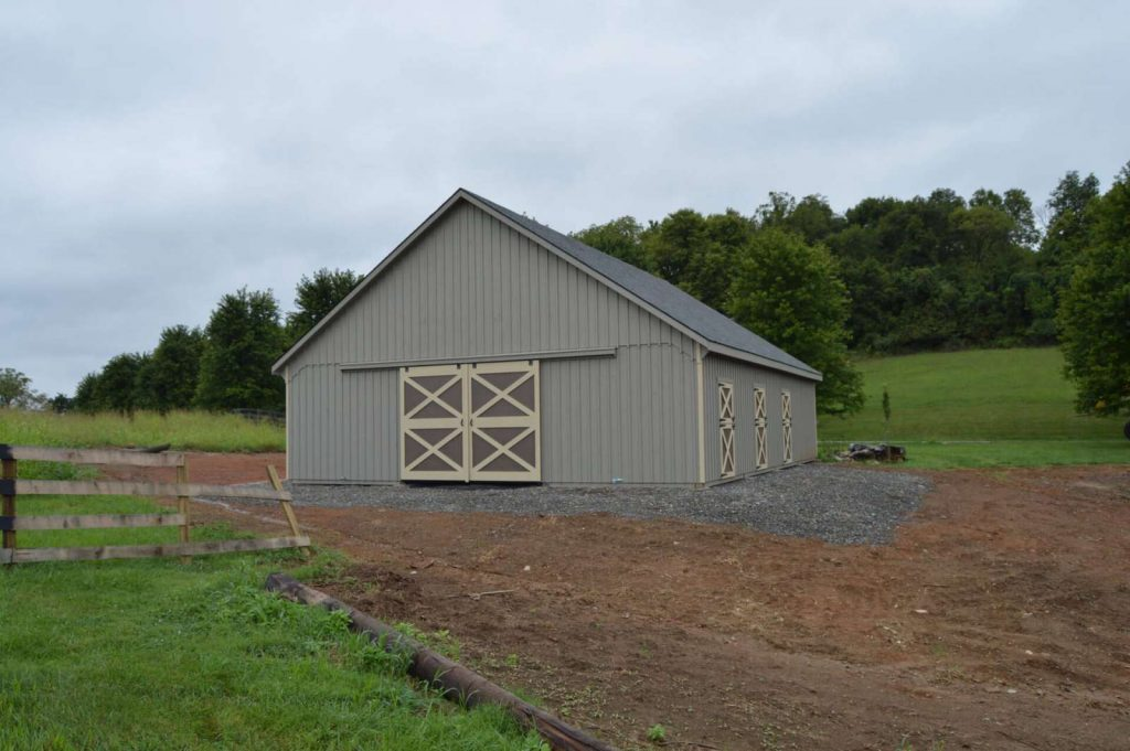 Two story gray barn