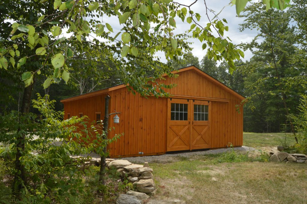 barn type with sliding door and horse stall