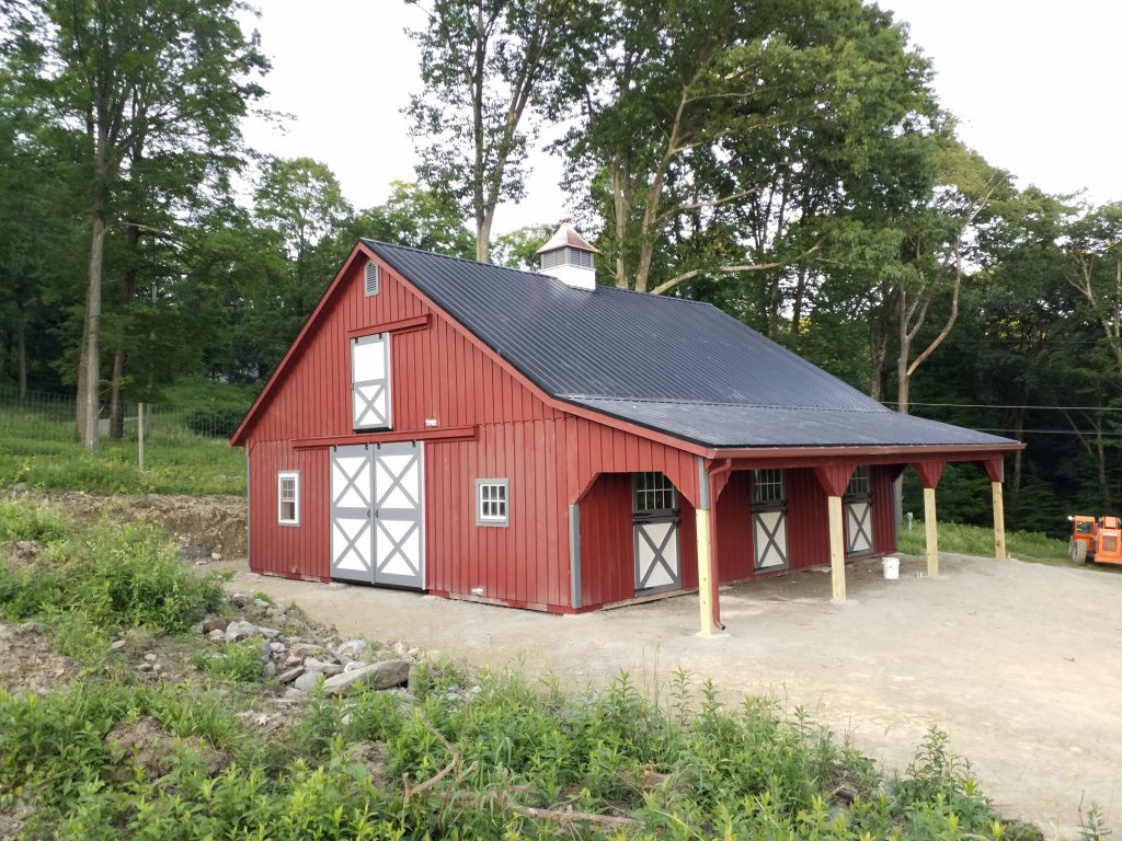 Red A-frame barn