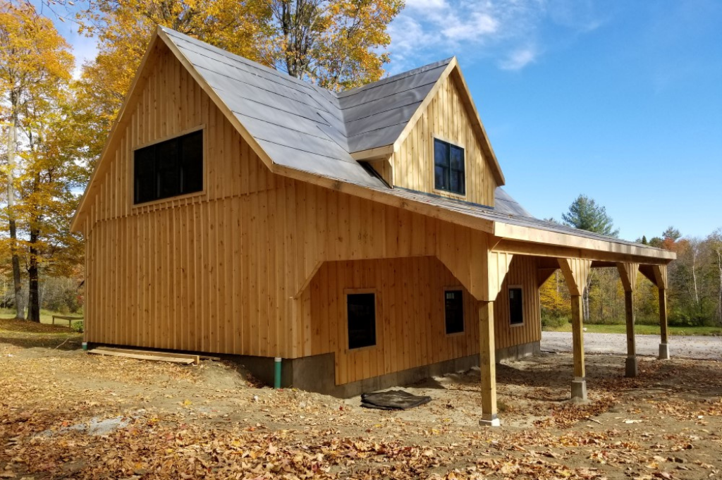 Country style barn with natural wood finish