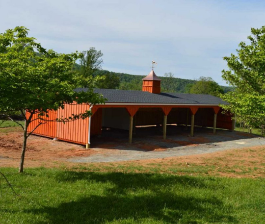 Run in shed barn with open stalls