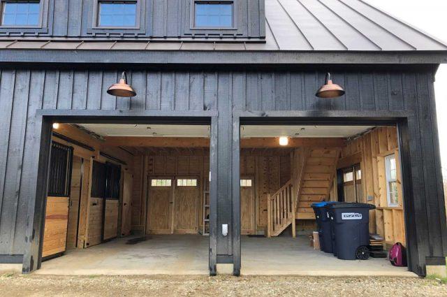 garage with transom windows