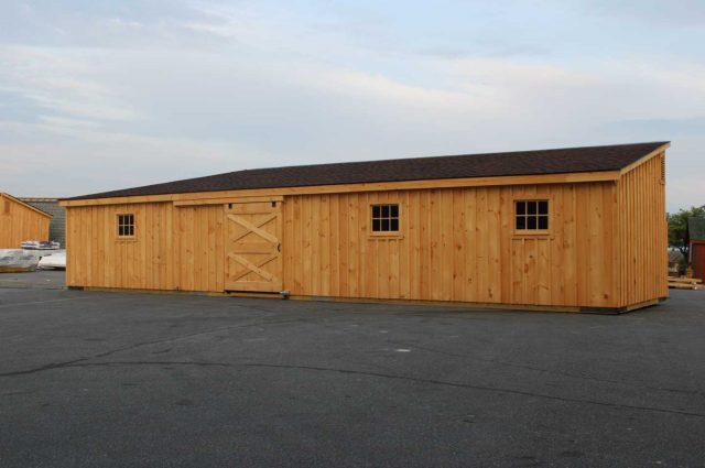 lean to barn with hickory colored roof